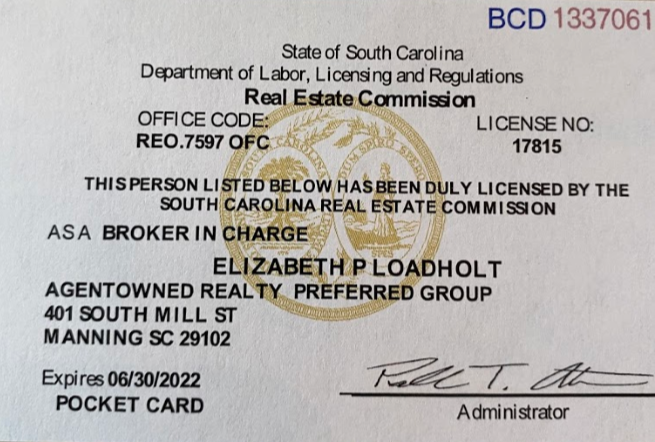Broker-in-charge SC real estate license