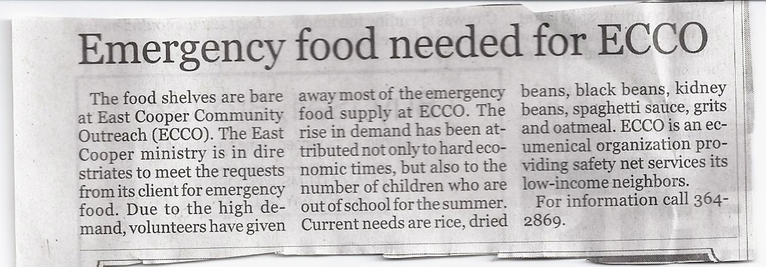 Photo of newspaper article for ECCO needs food