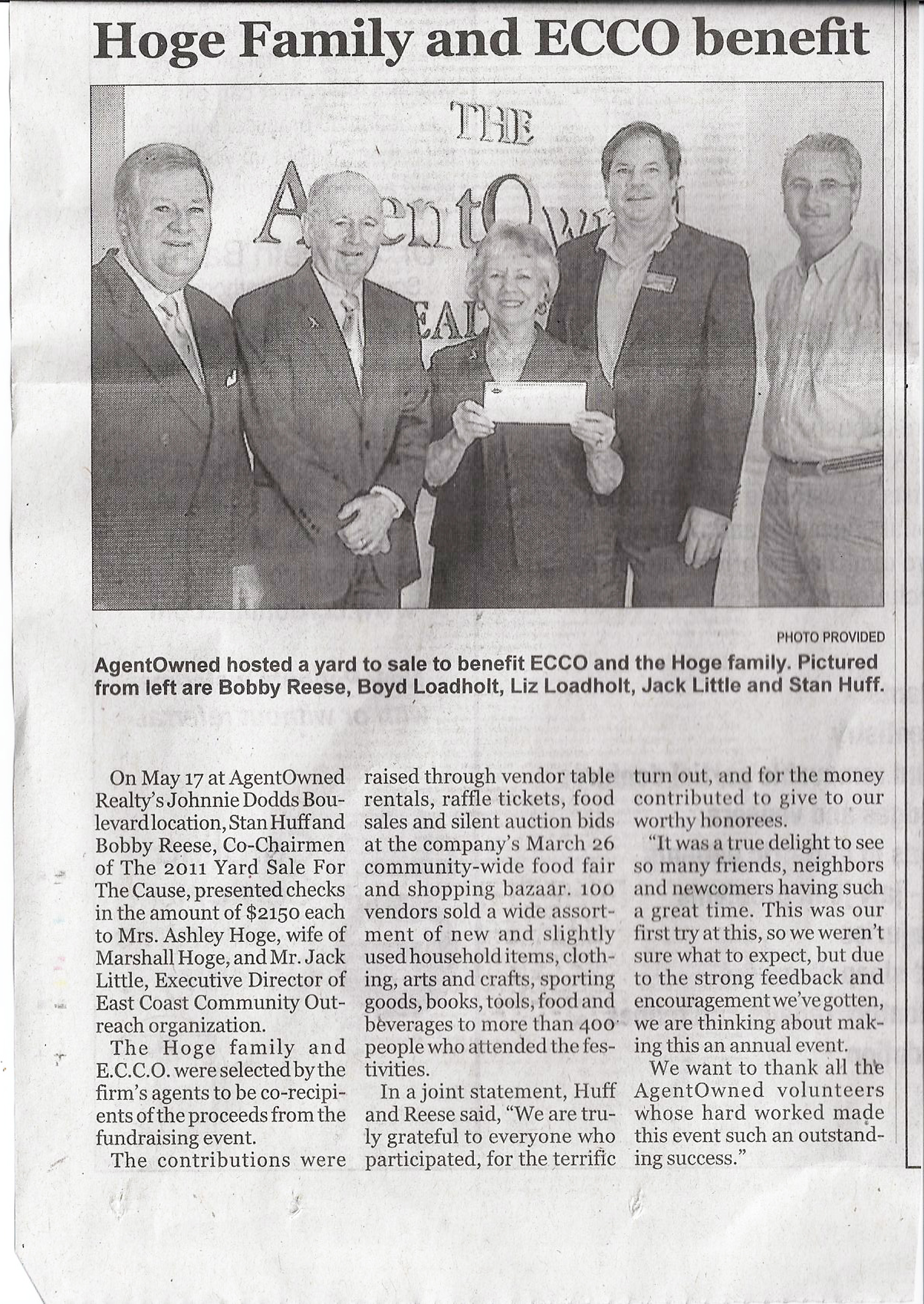Newspaper article on Presentation of checks to Hoge family & ECCO
