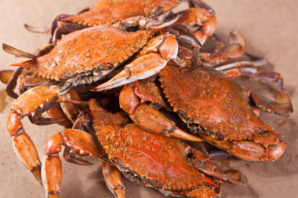 plate of cooked crabs