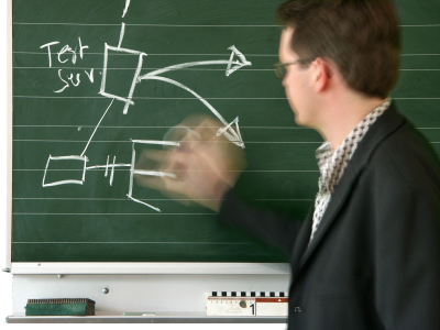 photo of teacher writing on a chalk board