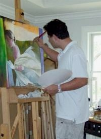 photo of Art Valero painting