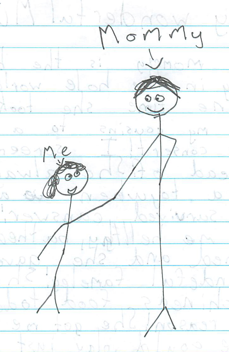 a stick drawing by Eliza Valero of she and her Mom, Liza