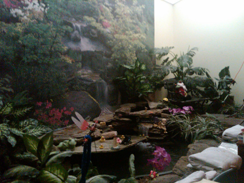 photo of the waterfall in the treatment room at Roper Radiation Center